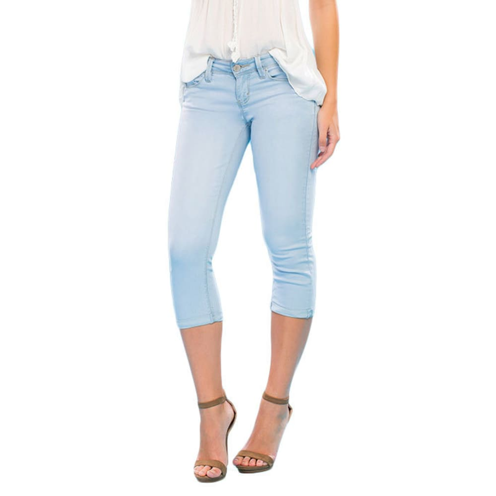 YMI Juniors' Luxe Cuff Flood Cropped Jeans - Q78-LIGHT WASH