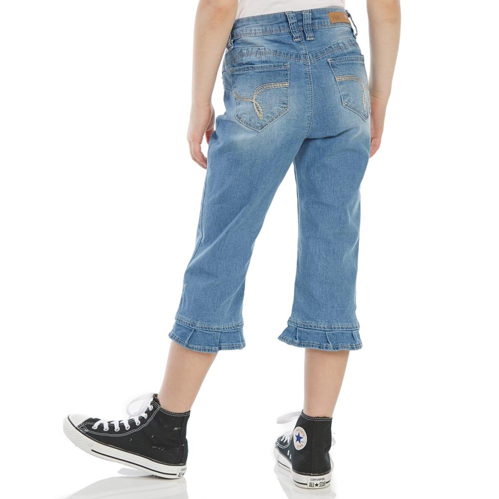 YMI Big Girls' WannaBettaFit Cropped Ruffled Jeans - C08-MED WASH