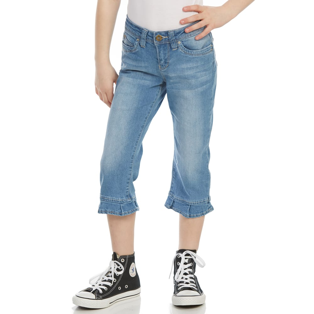 YMI Big Girls' WannaBettaFit Cropped Ruffled Jeans 7
