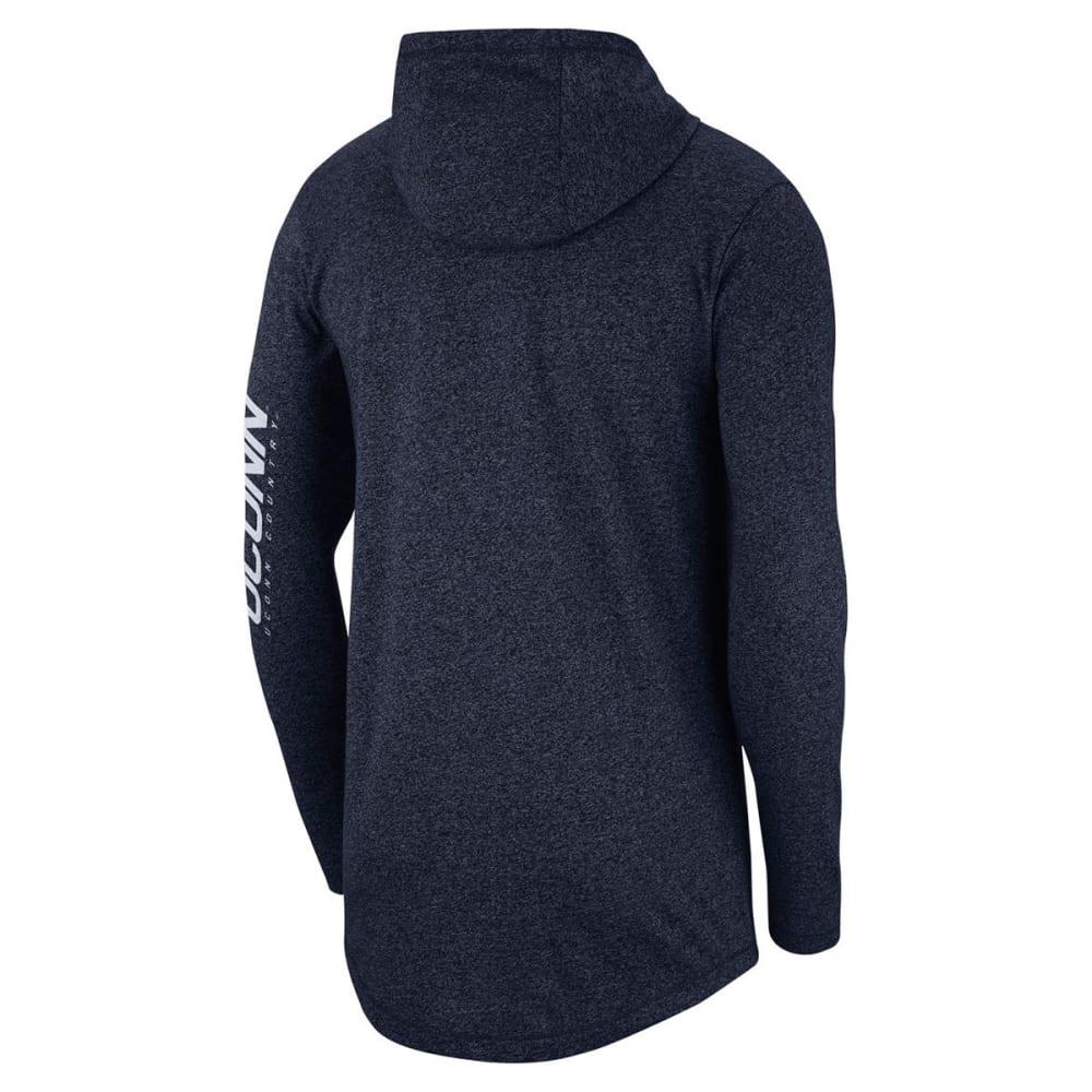 NIKE Men's UConn Marled Hooded Long-Sleeve Tee - NAVY
