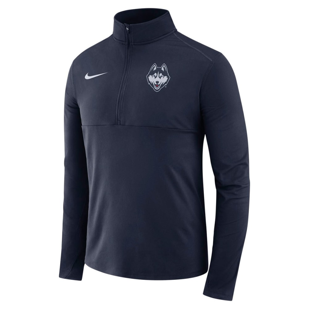 NIKE Men's UConn College Therma ½-Zip Long-Sleeve Pullover - NAVY