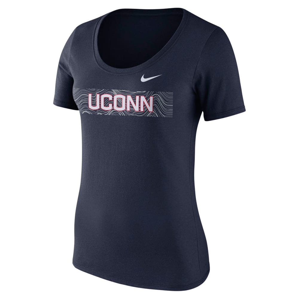 NIKE Women's UConn Sideline Scoop Neck Short-Sleeve Tee - NAVY