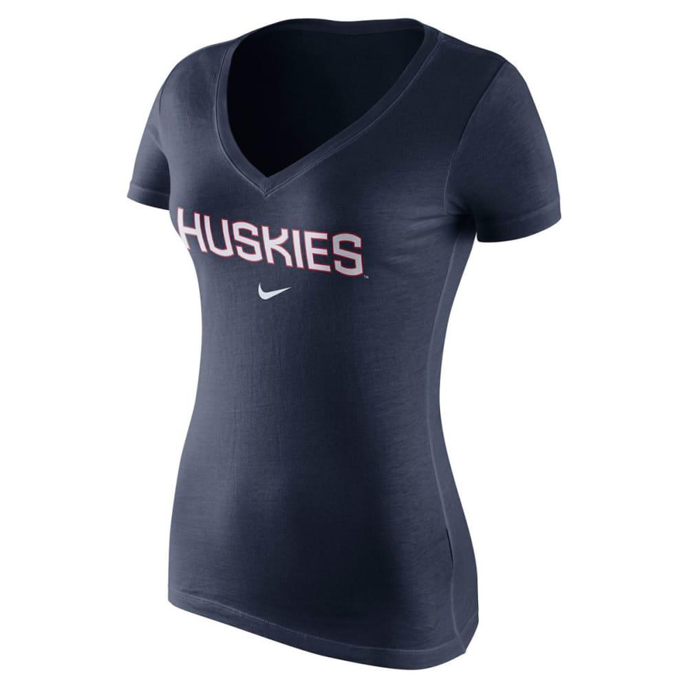 NIKE Women's UConn V-Neck Short-Sleeve Tee - NAVY