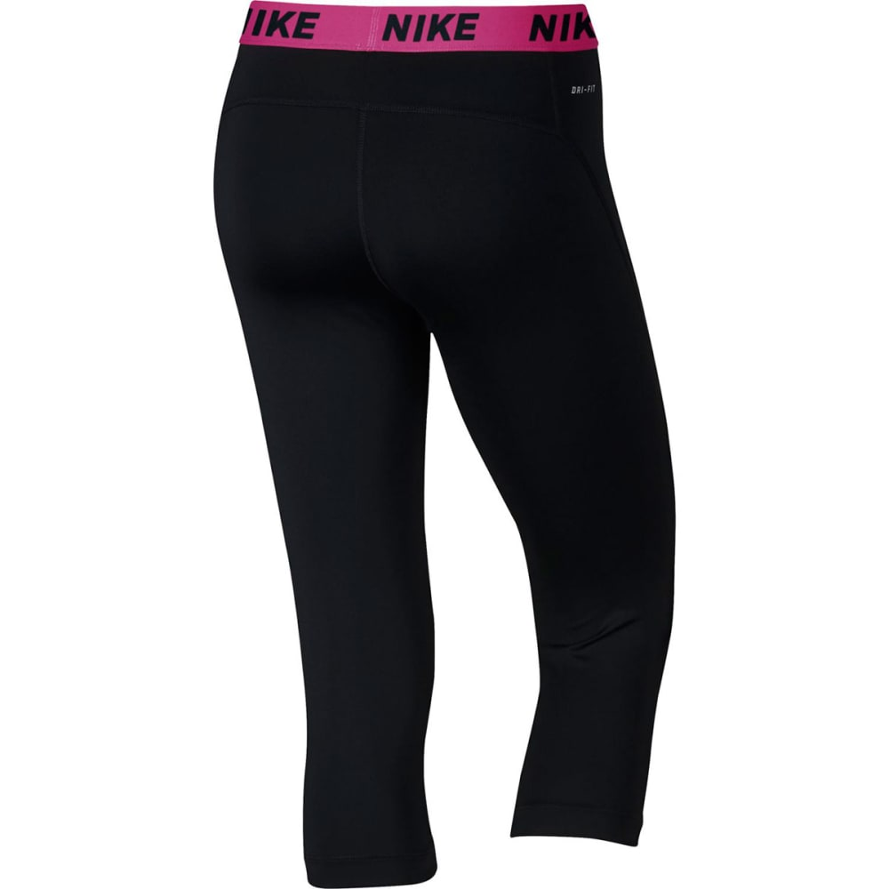 NIKE Women's Victory Training Capris - BLACK/VIV PINK-011