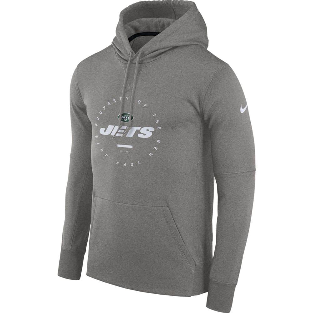 NIKE Men's New York Jets Therma Fleece Pullover Hoodie - GREY