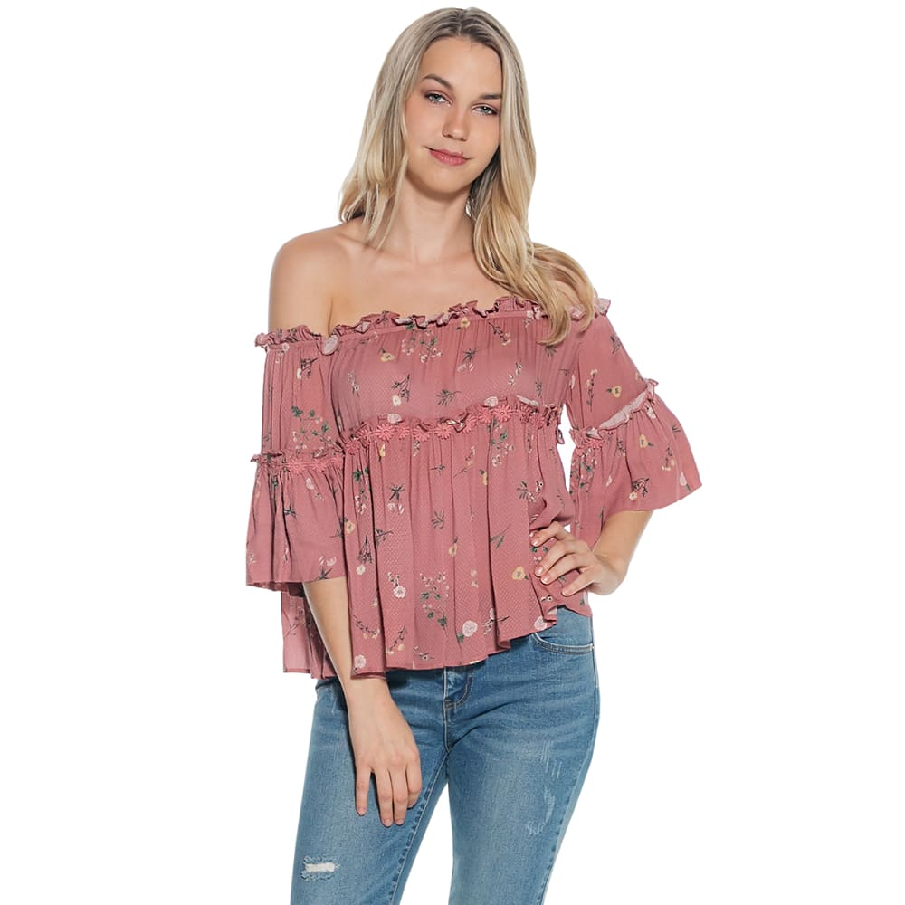 TAYLOR & SAGE Juniors' Print Off-Shoulder Long-Sleeve Top - DRIED ROSE-DRR