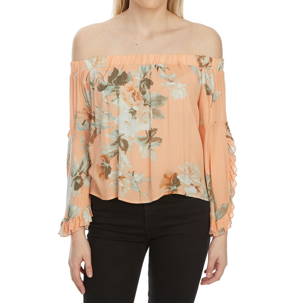TAYLOR & SAGE Juniors' Flower Print Off-Shoulder Long-Sleeve Top - SUNBAKED PEACH-SBP