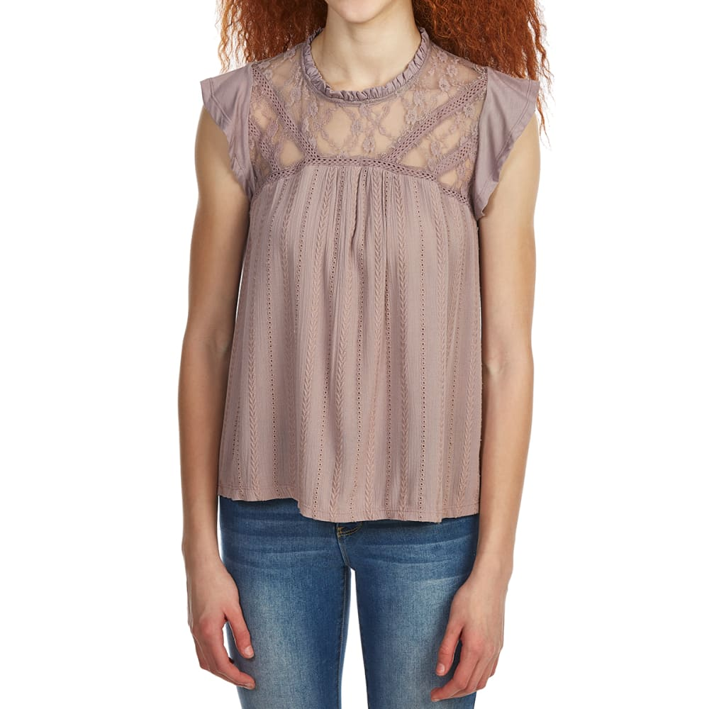 TAYLOR & SAGE Juniors' High-Neck Lace Detail Top - DUSTY LILAC-DTY
