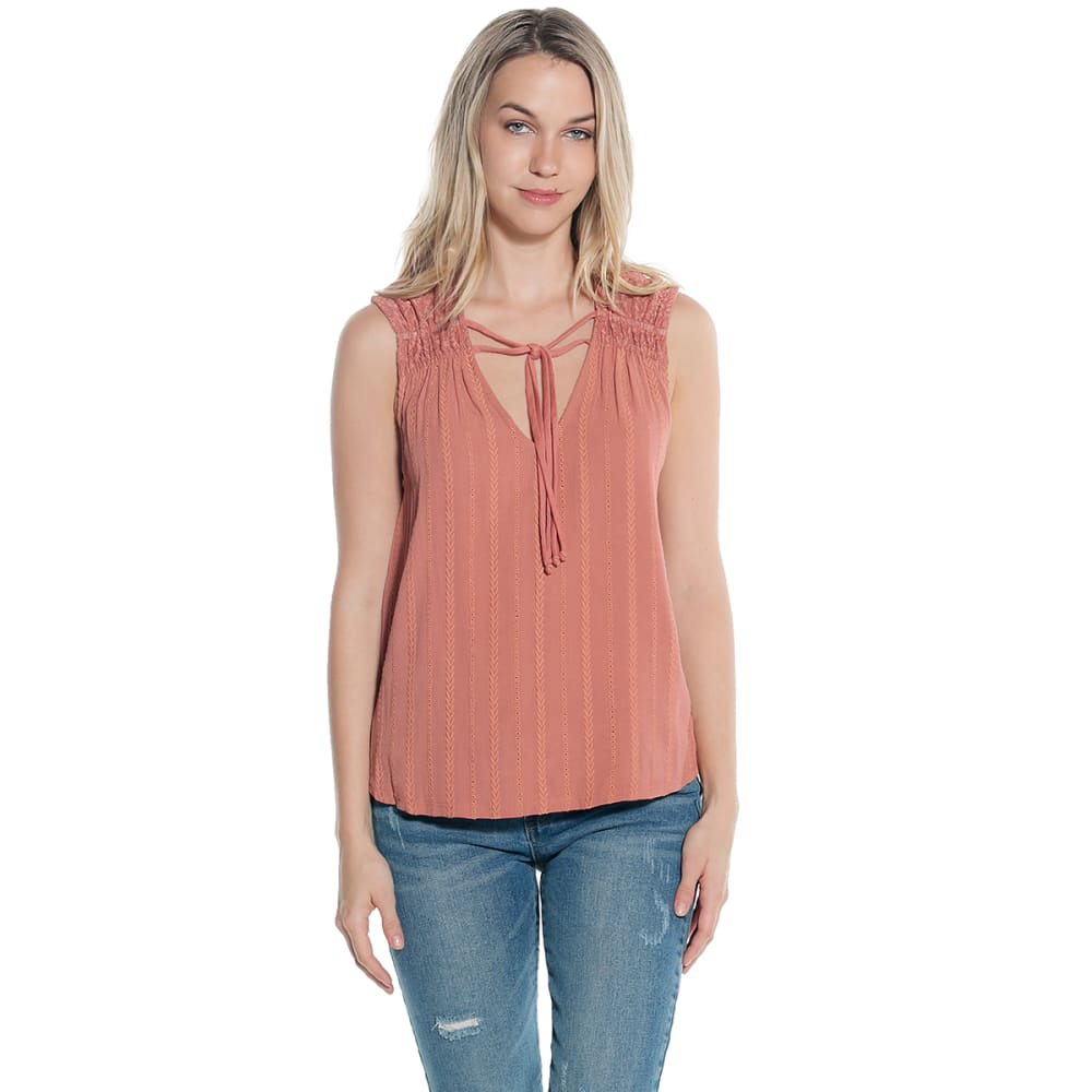 TAYLOR & SAGE Juniors' Solid Tie-Front Tank Top - DRIED ROSE-DRR