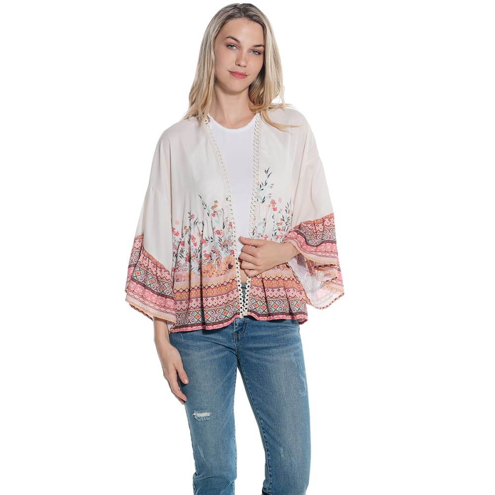 TAYLOR & SAGE Juniors' Sage Print Kimono Top - RAW CANVAS-RWC