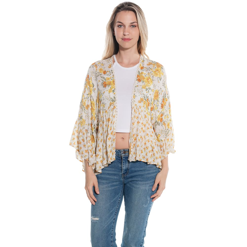 TAYLOR & SAGE Juniors' Floral Print Kimono Top - RAW CANVAS-RWC