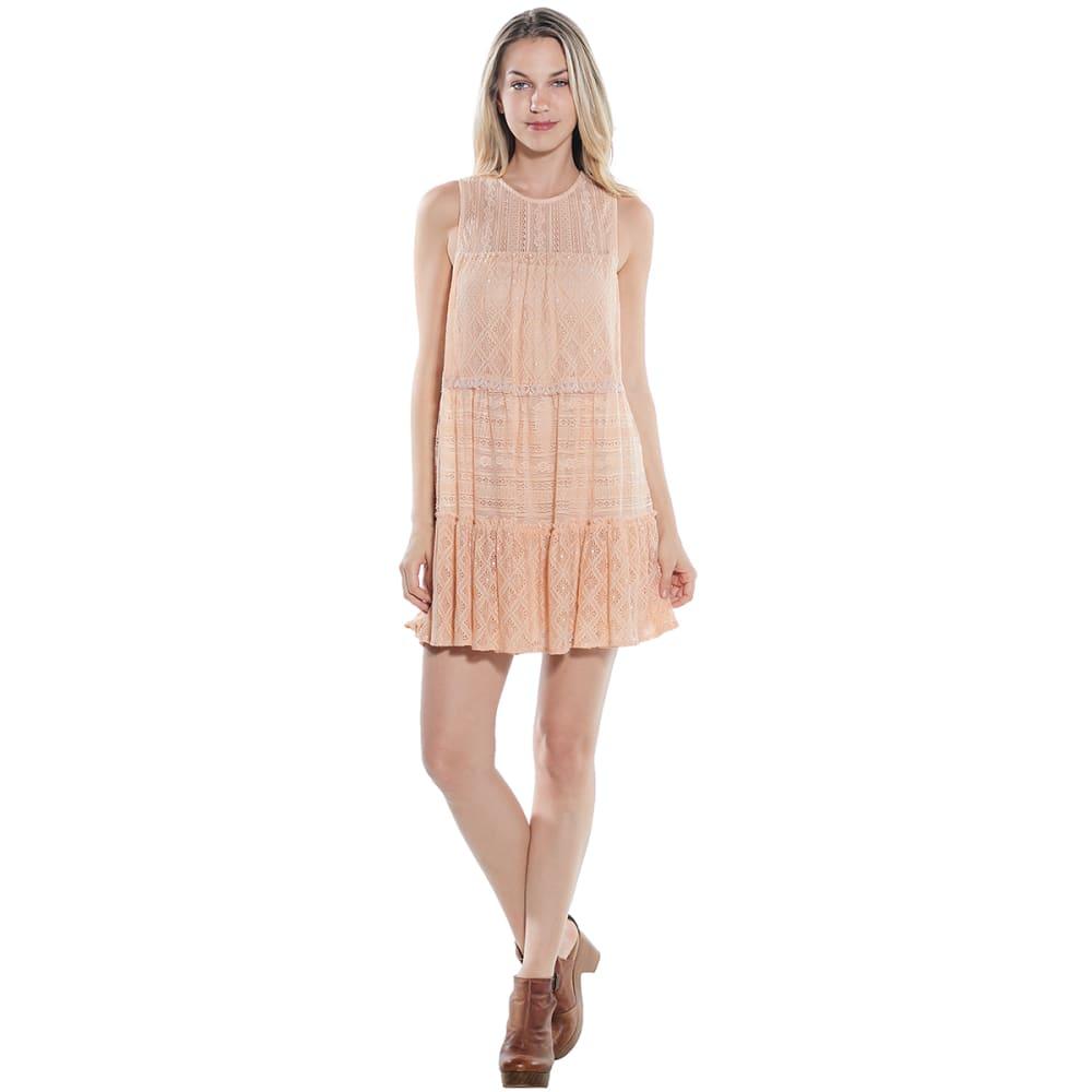 TAYLOR & SAGE Juniors' Mix Lace Sleeveless Dress - PINKY NUDE-PKN