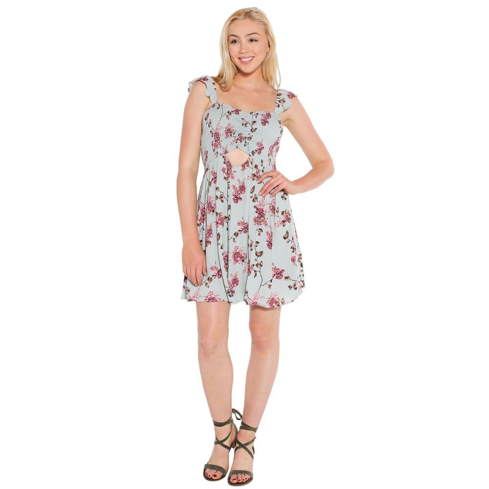 TAYLOR & SAGE Juniors' Print Smocked Peekaboo Dress L