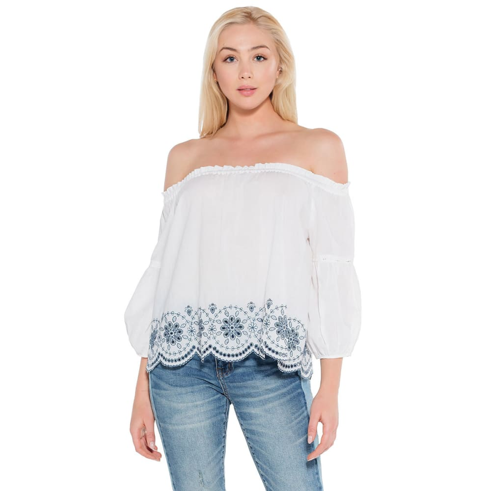 TAYLOR & SAGE Juniors' Embroidered Off The Shoulder Top - LINEN WHITE-LIW