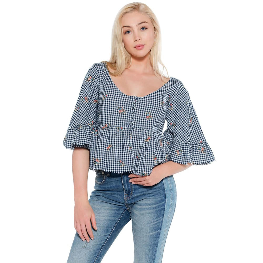 TAYLOR & SAGE Juniors' Embroidered Gingham Top - DARK NAVY-DNA