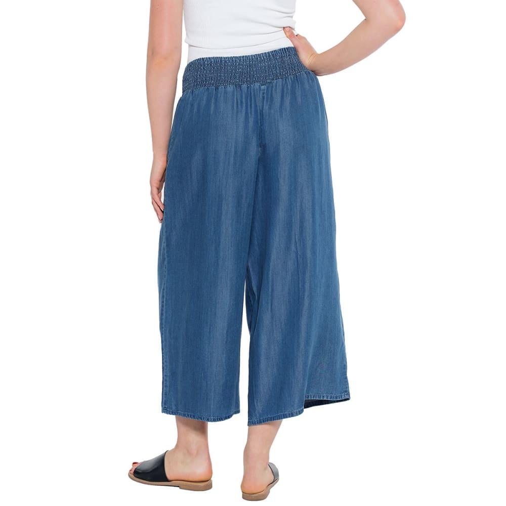TAYLOR & SAGE Juniors' Smocked Waist Tencel Gaucho Pants - BLUE-BLE