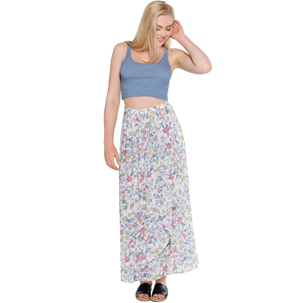 TAYLOR & SAGE Juniors' Floral Wrap Maxi Skirt - LINEN WHITE-LIW