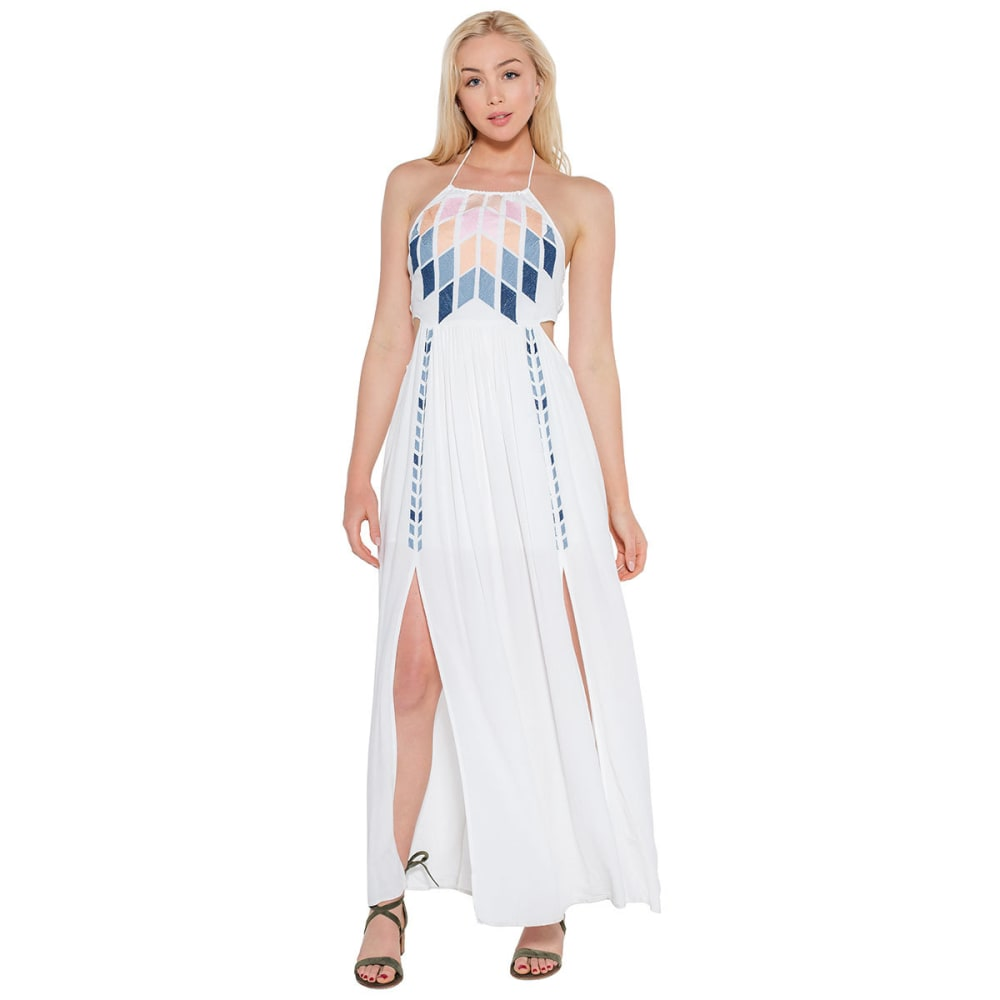 TAYLOR & SAGE Juniors' Embroidered Halter Maxi Dress - LINEN WHITE-LIW