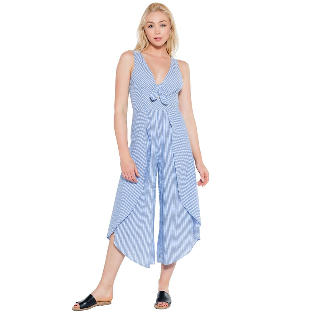 TAYLOR & SAGE Juniors' Seersucker Stripe Jumpsuit - BLUE-BLE