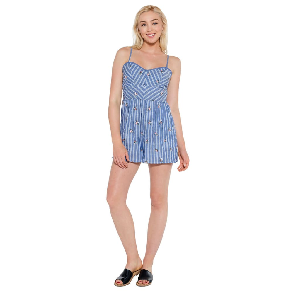 TAYLOR & SAGE Juniors' Embroidered Mitered Romper - NAVY-NAV