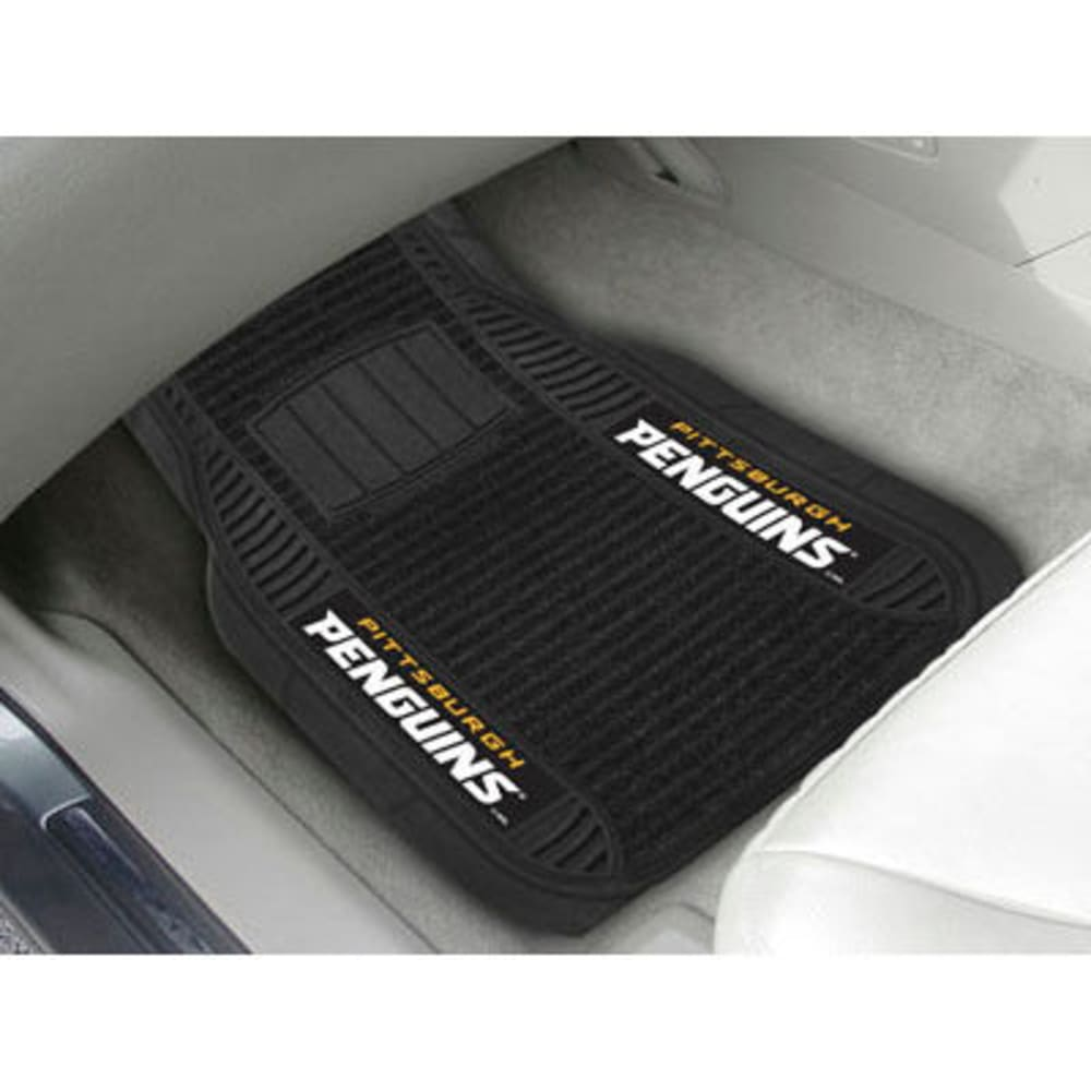 Fan Mats Pittsburgh Penguins 2-Piece Deluxe Car Mats, Black