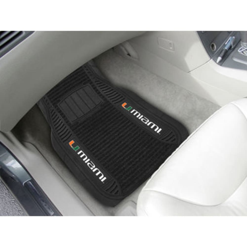 Fan Mats University Of Miami 2-Piece Deluxe Car Mats, Black