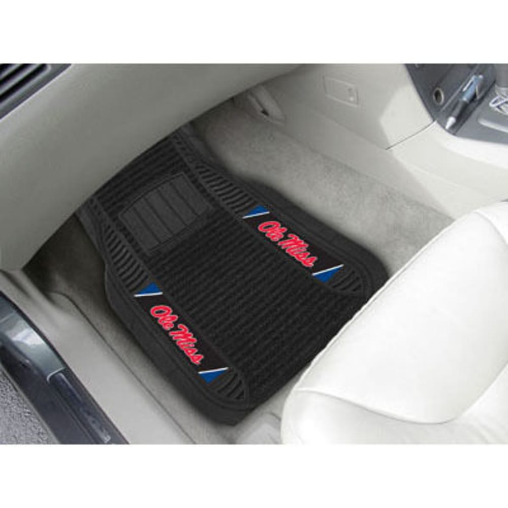 Fan Mats University Of Mississippi (Ole Miss) 2-Piece Deluxe Car Mats, Black