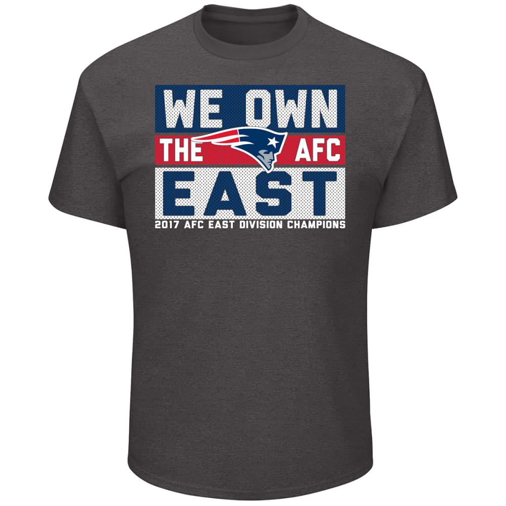 NEW ENGLAND PATRIOTS Men's 2017 AFC East Division Champions Line of Scrimmage Short-Sleeve Tee - CHAR HEATHER