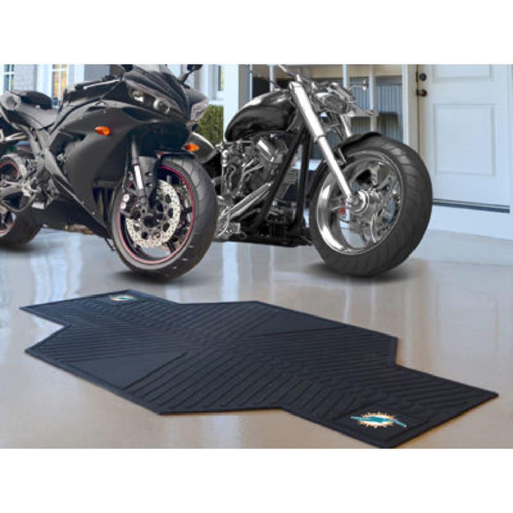 FAN MATS Miami Dolphins Motorcycle Mat, Black - BLACK