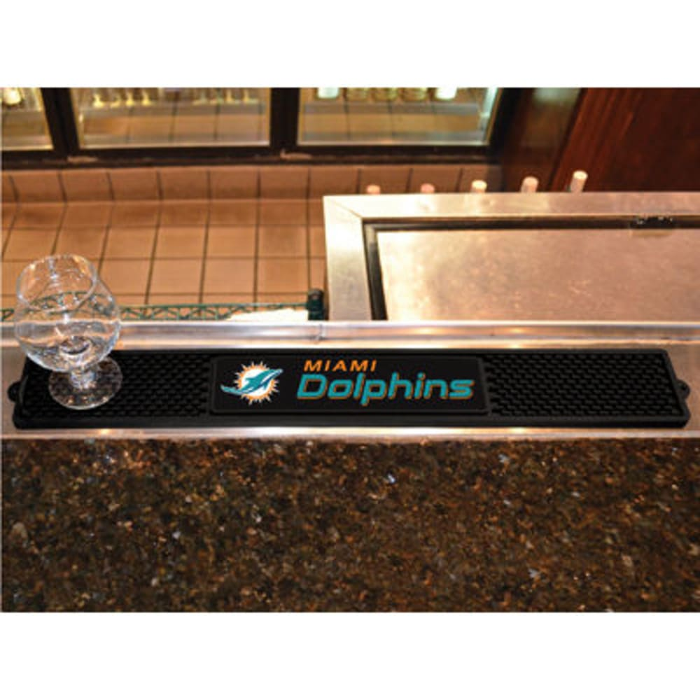 FAN MATS Miami Dolphins Drink Mat, Black ONE SIZE