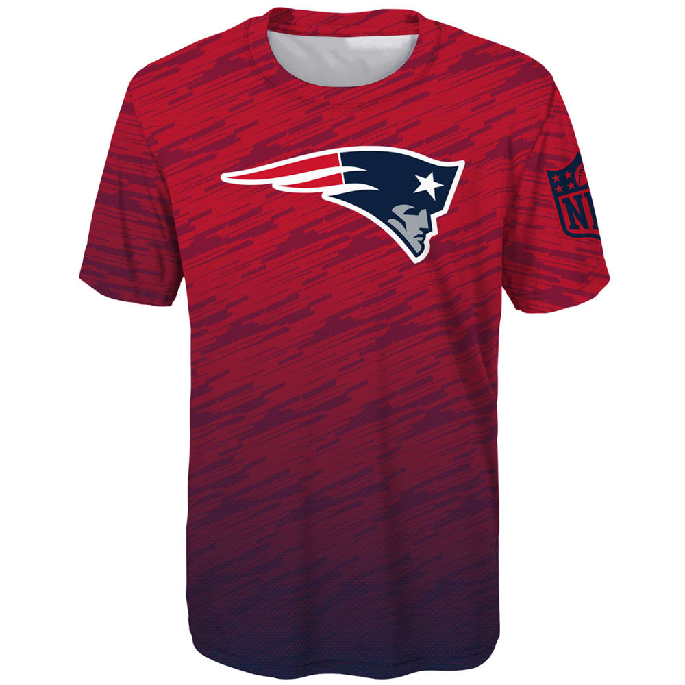NEW ENGLAND PATRIOTS Big Boys' Propulsion Poly Short-Sleeve Tee - RED