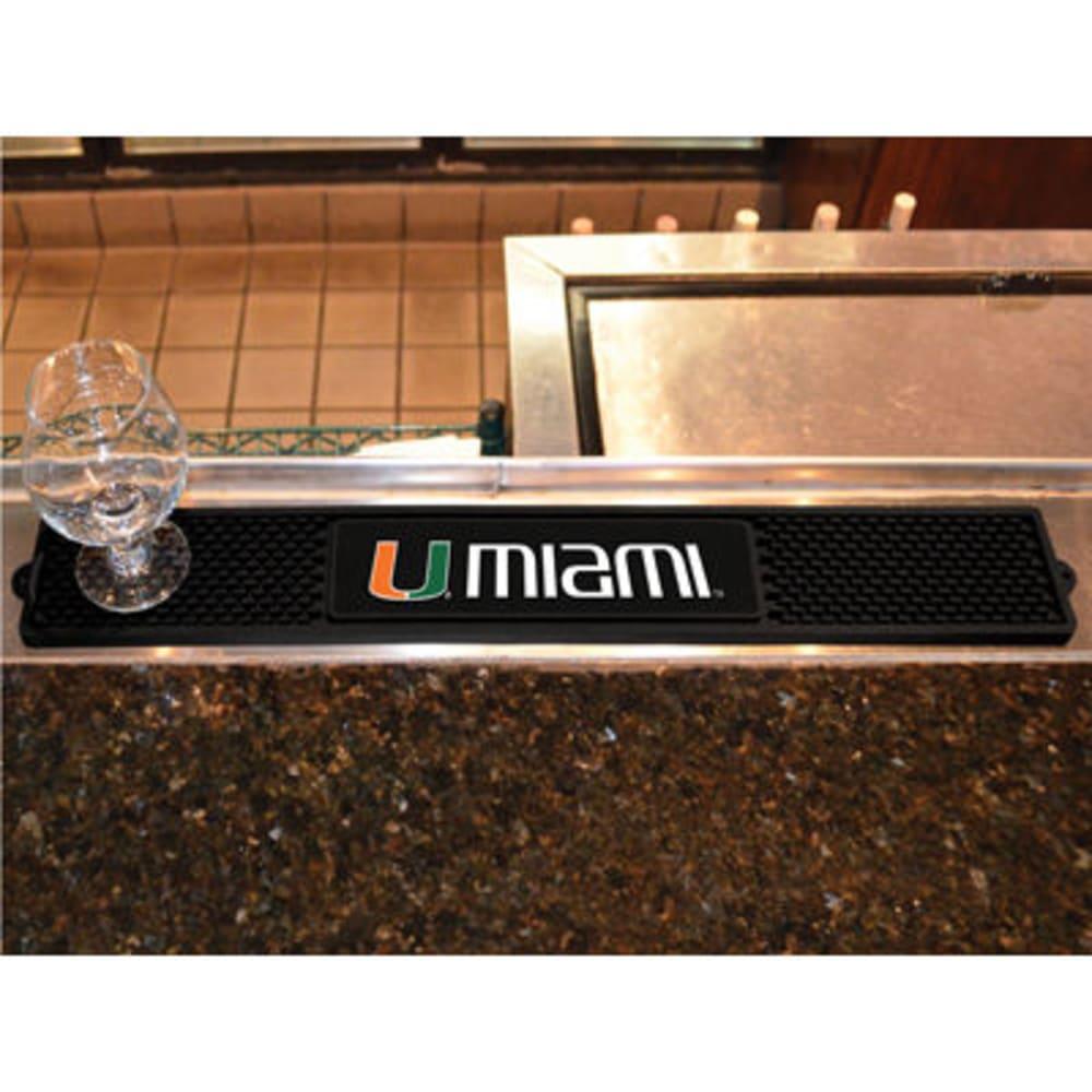 FAN MATS University of Miami Drink Mat, Black - BLACK