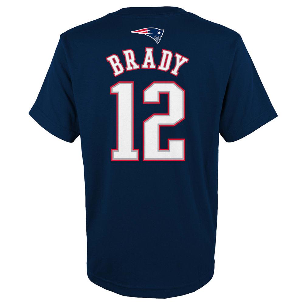 NEW ENGLAND PATRIOTS Big Boys' Tom Brady #12 Mainline Name and Number Short-Sleeve Tee - NAVY