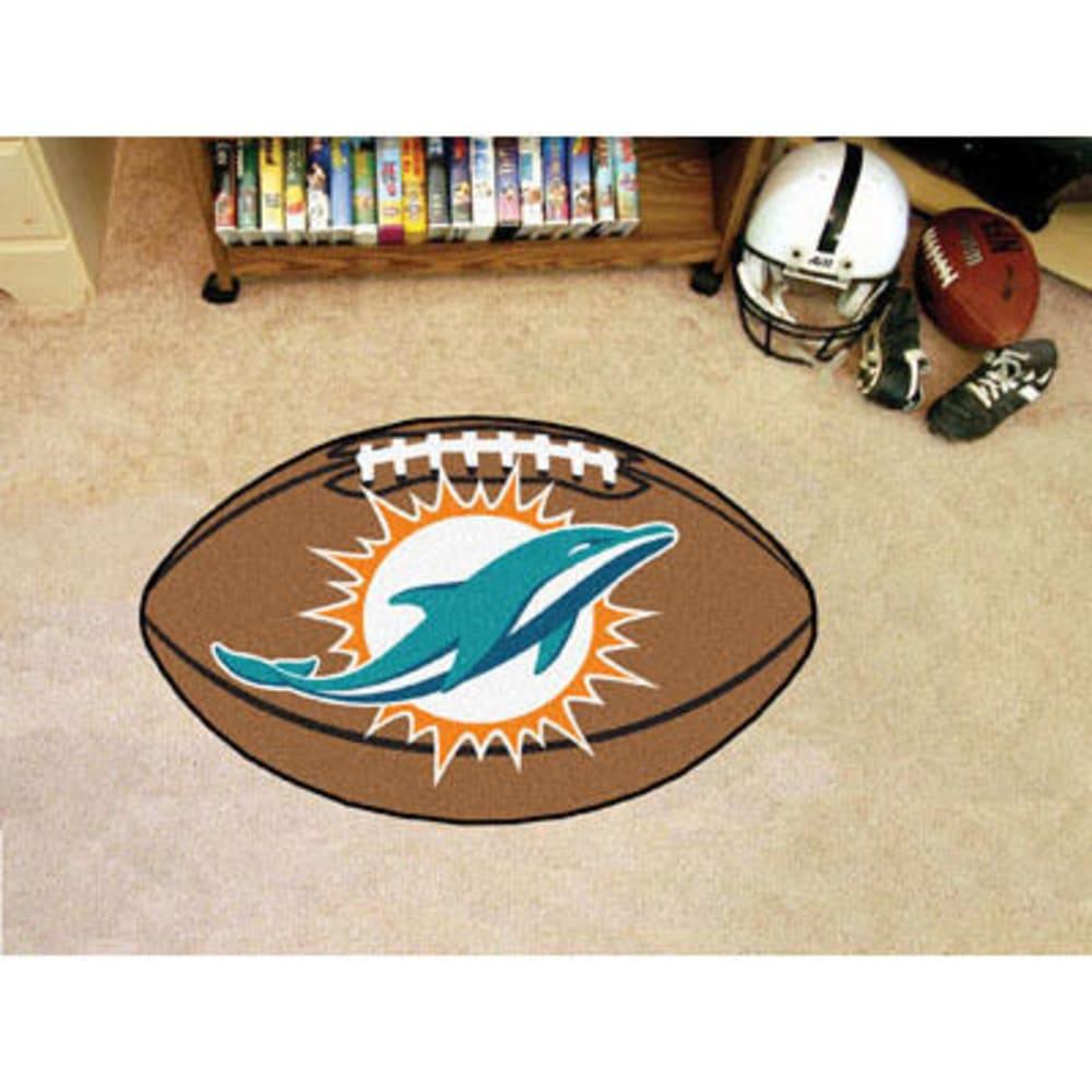 FAN MATS Miami Dolphins Football Mat, Brown/Aqua - BROWN/AQUA