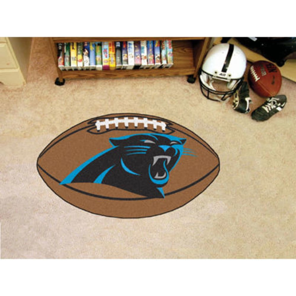 FAN MATS Carolina Panthers Football Mat, Brown/Black ONE SIZE