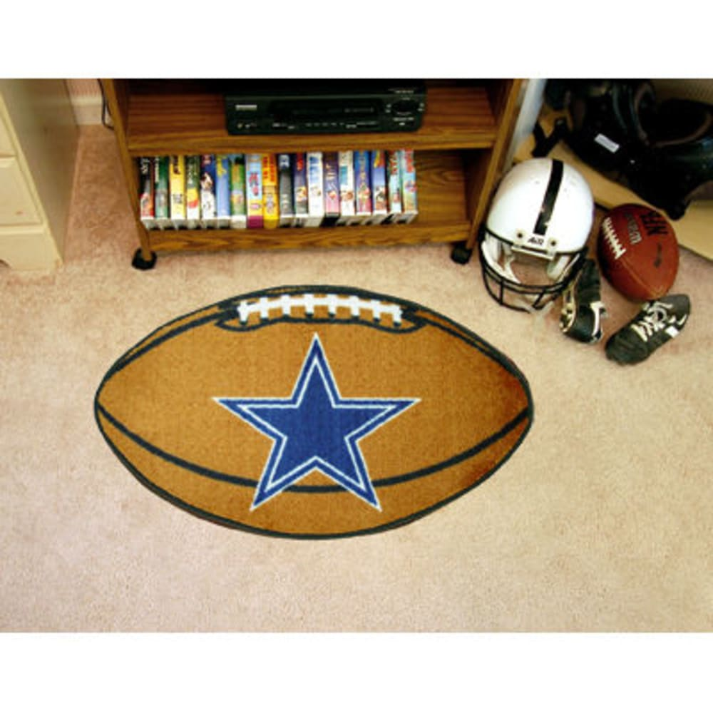 FAN MATS Dallas Cowboys Football Mat, Brown/Blue - BROWN/BLUE