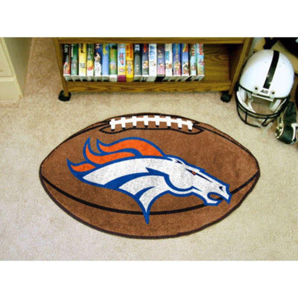 FAN MATS Denver Broncos Football Mat, Brown/Blue - BROWN/BLUE