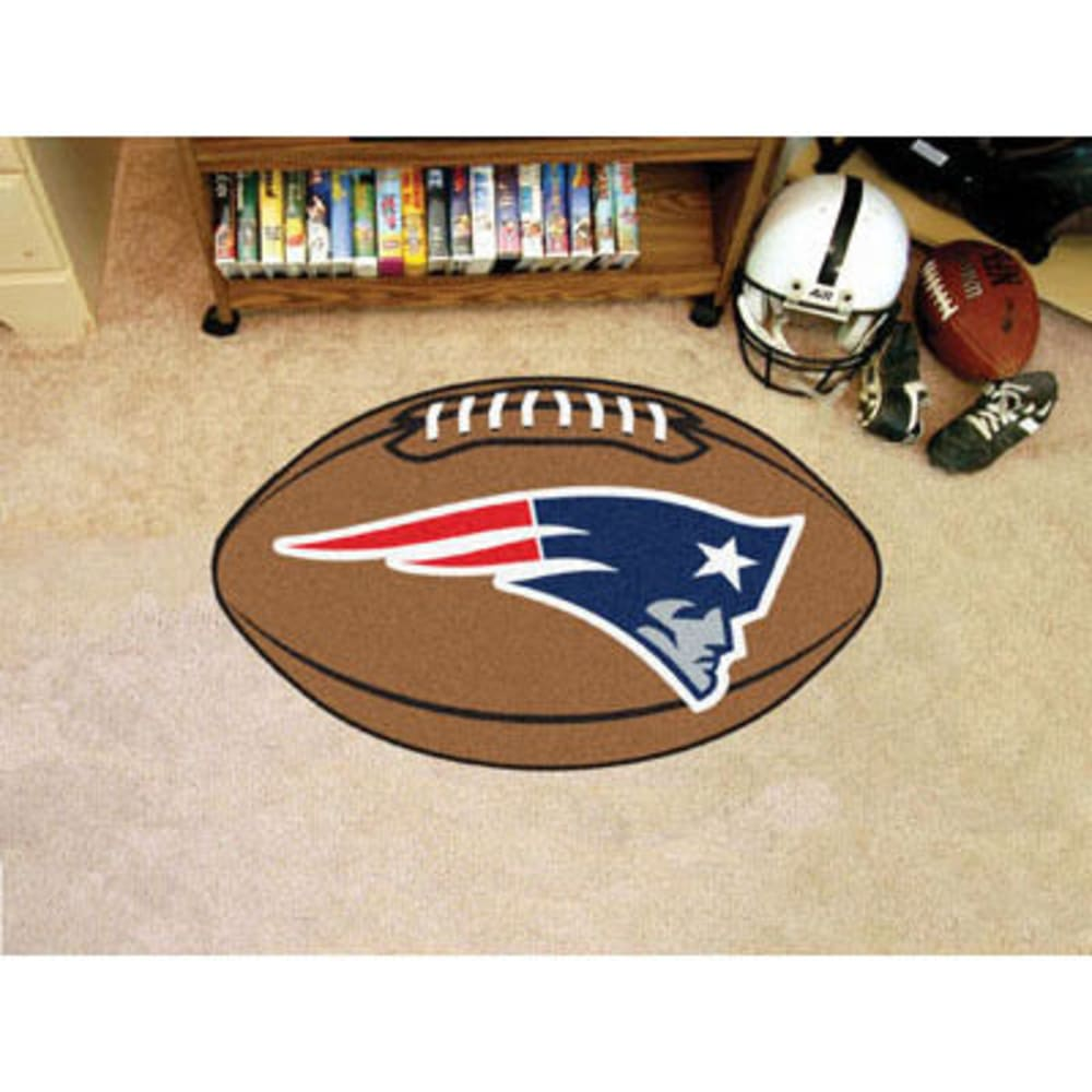 FAN MATS New England Patriots Football Mat, Brown/Blue ONE SIZE