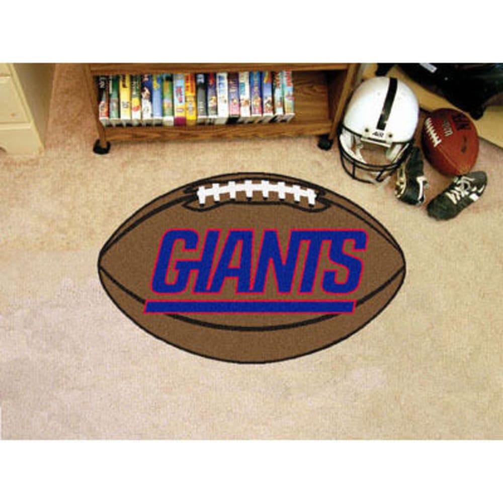 FAN MATS New York Giants Football Mat, Brown/Blue - BROWN/BLUE