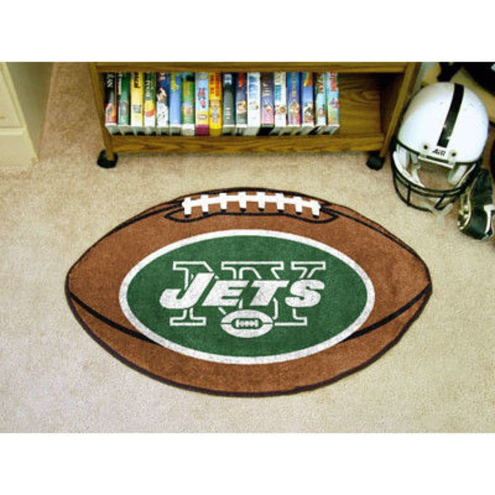 FAN MATS New York Jets Football Mat, Brown/Green ONE SIZE