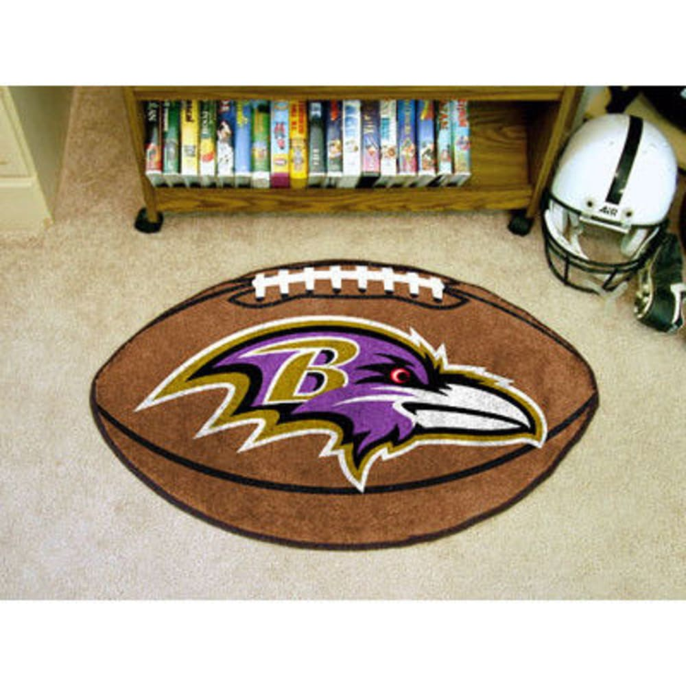 FAN MATS Baltimore Ravens Football Mat, Brown/Purple - BROWN/PURPLE
