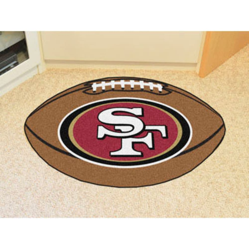 FAN MATS San Francisco 49ers Football Mat, Brown/Scarlet - BROWN/SCARLET