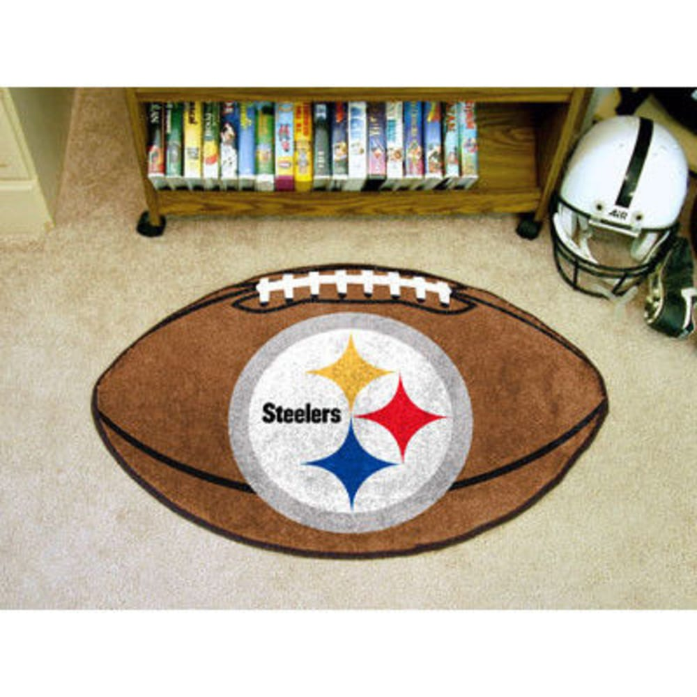 FAN MATS Pittsburgh Steelers Football Mat, Brown/Silver ONE SIZE