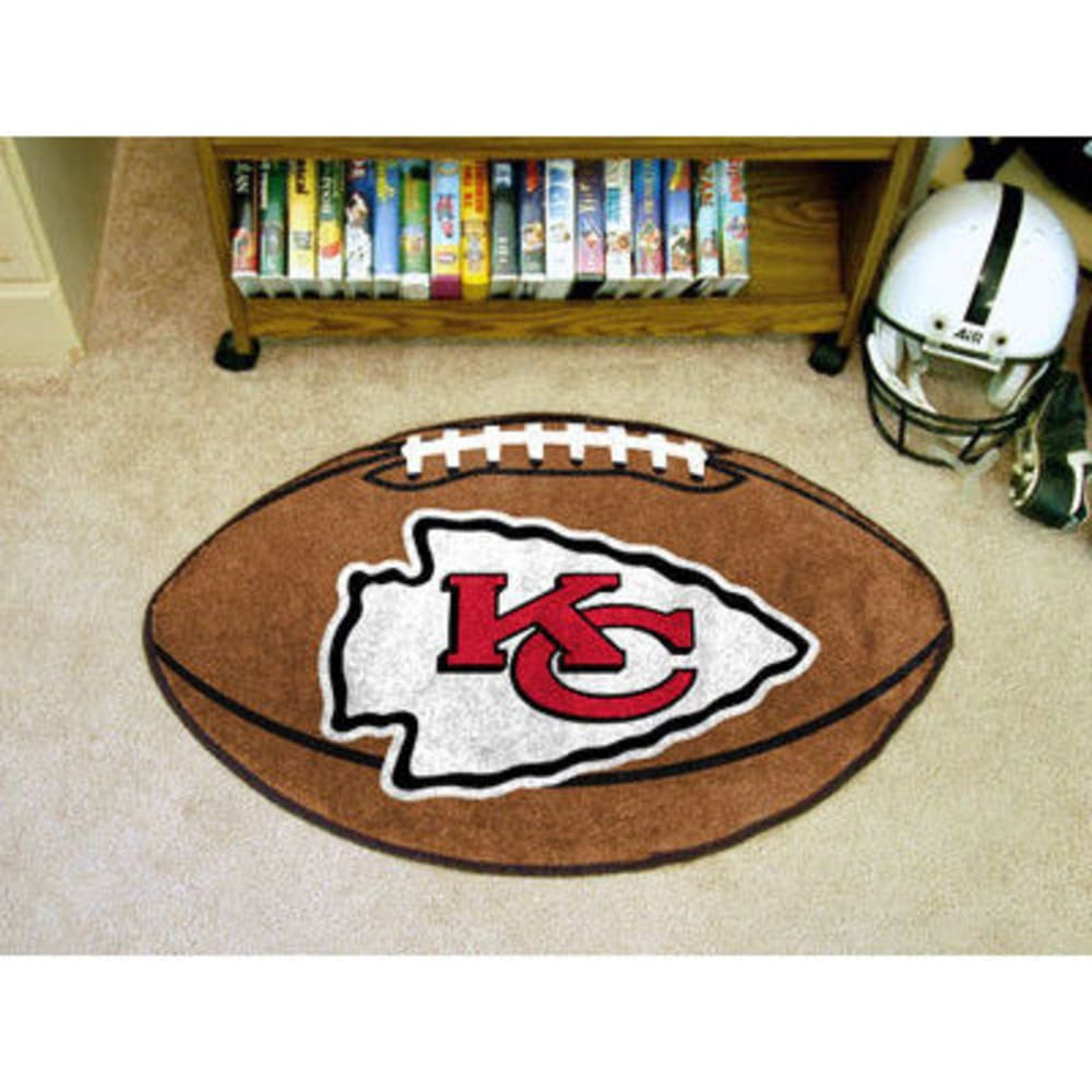 FAN MATS Kansas City Chiefs Football Mat, Brown/White - BROWN/WHITE