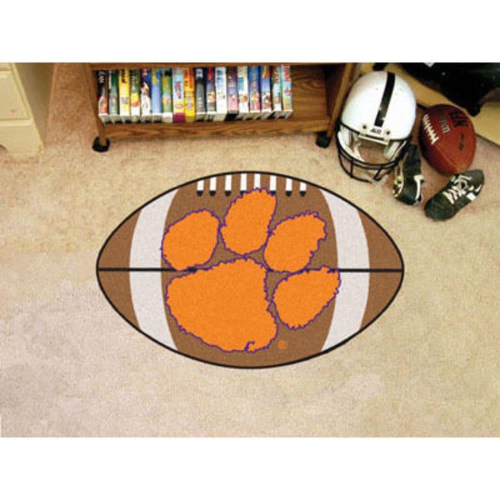 FAN MATS Clemson University Football Mat, Brown/Orange - BROWN/ORG