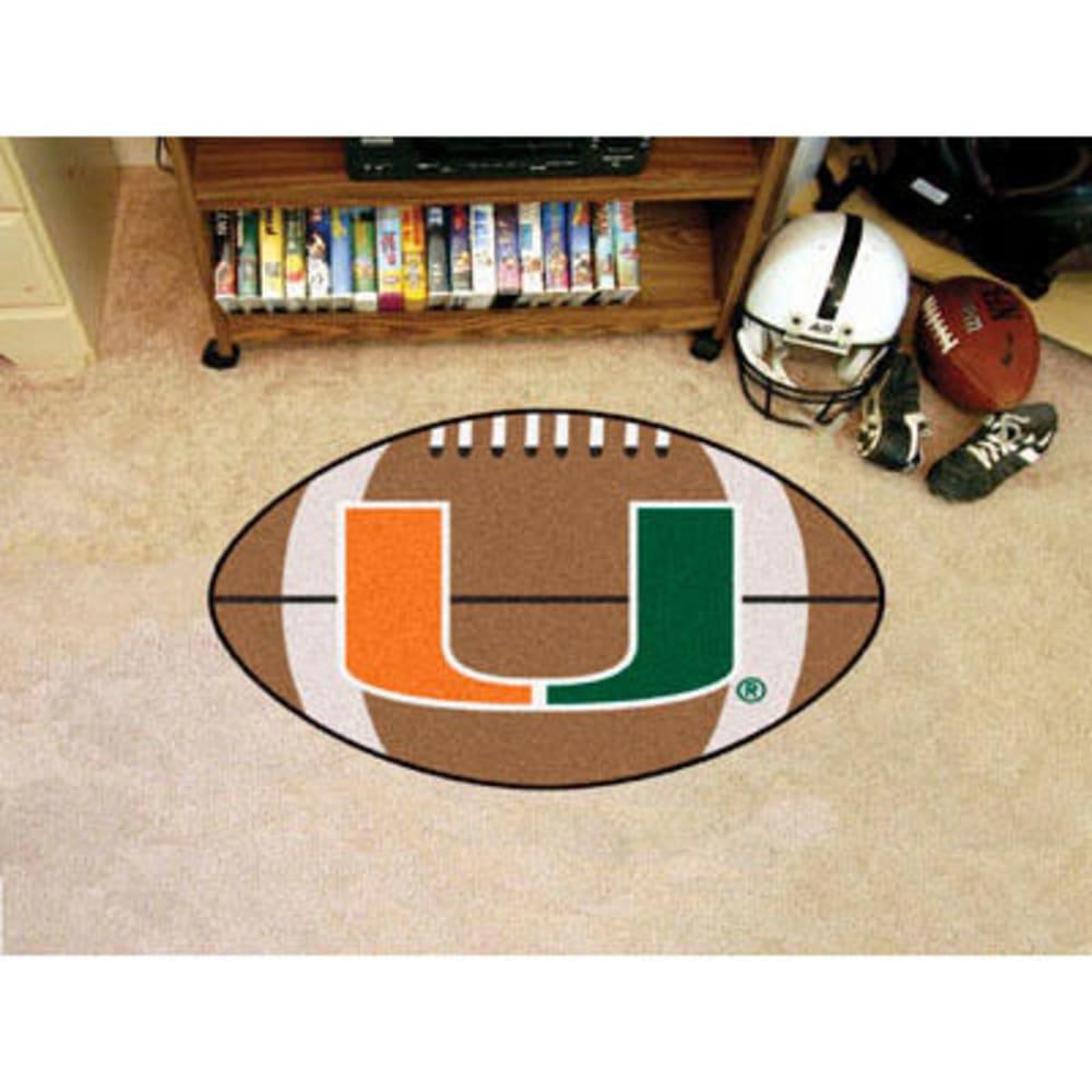 FAN MATS University of Miami Football Mat, Brown/Green - BROWN/GREEN