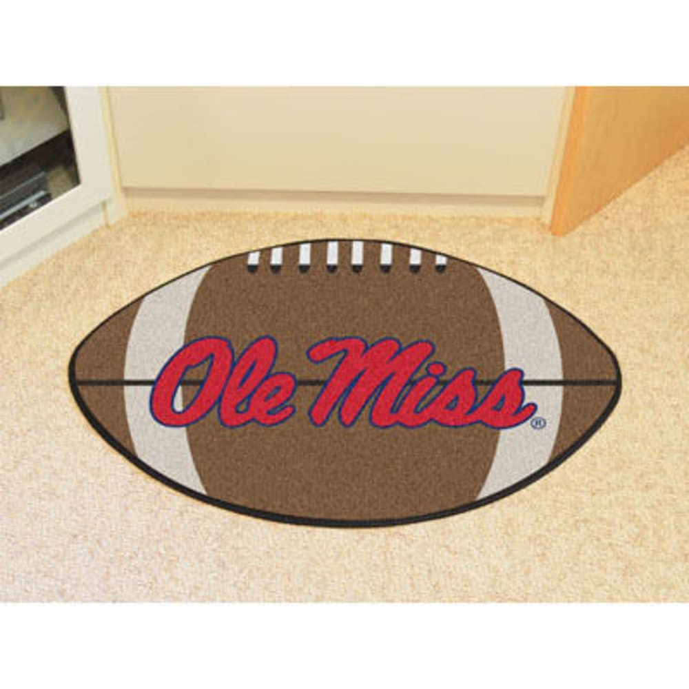 FAN MATS University of Mississippi (Ole Miss) Football Mat, Brown/Red - BROWN/RED