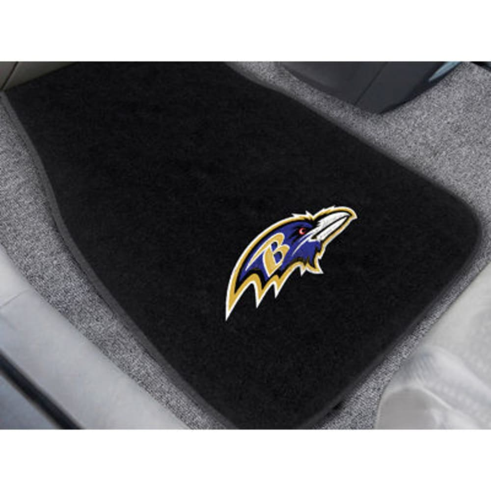 Fan Mats Baltimore Ravens 2-Piece Embroidered Car Mat Set, Black