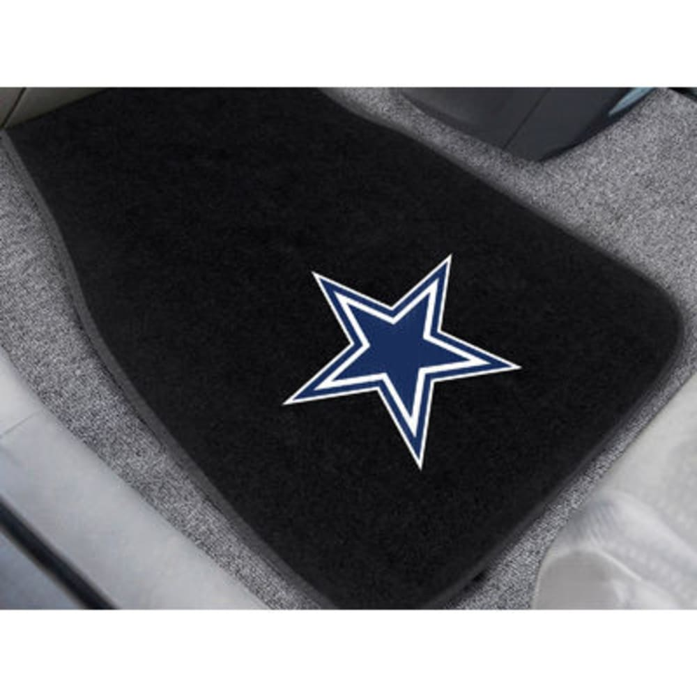 FAN MATS Dallas Cowboys 2-Piece Embroidered Car Mat Set, Black - BLACK