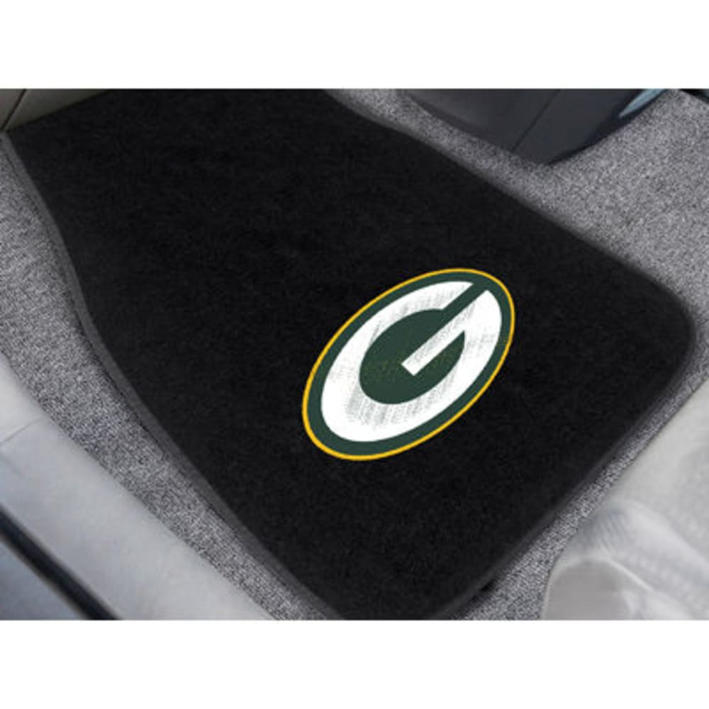 FAN MATS Green Bay Packers 2-Piece Embroidered Car Mat Set, Black - BLACK